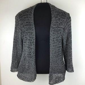 EILEEN FISHER Grey Open Knit Cardigan Sweater